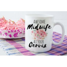 Awesome Midwife Mug Pink Floral