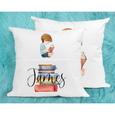 Personalised Reading Pillow For Boys - Brunette