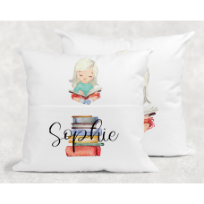 Personalised Reading Pillow For Girls - Blonde