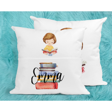 Personalised Reading Pillow For Girls - Brunette