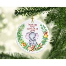 Baby Boy First Christmas Elephant Ornament