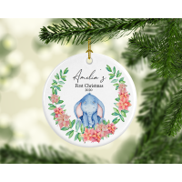 Baby Girl First Christmas Ornament (sleeping elephant)