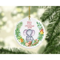 Baby Girl First Christmas Elephant Ornament