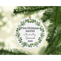 First Christmas Married Green Wreath Ornament