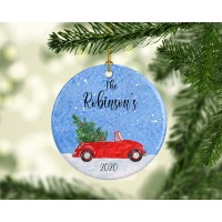 Red Car Family Christmas Ornament