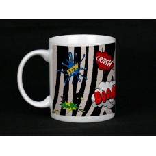 Zebra Print Comic Book Design Mug