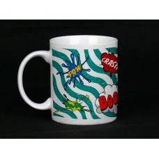 Green Squiggles Comic Book Design Ceramic Mug