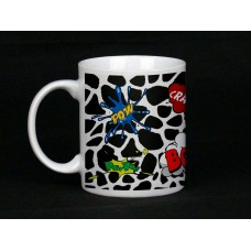 Cow Print Comic Book Design Ceramic Mug