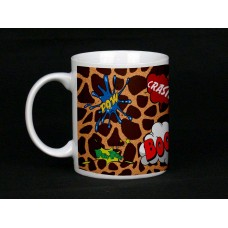 Giraffe Print Comic Book Design Ceramic Mug