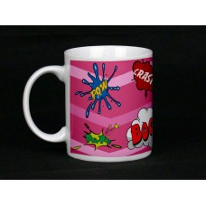 Pink Comic Book Design Ceramic Mug