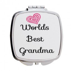 Worlds Best Grandma Mirror Compact (Heart Design)