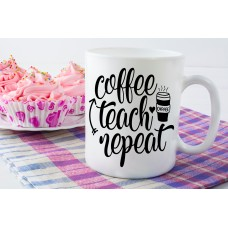 Coffee, Teach, Repeat, Teacher Ceramic Mug