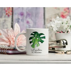 Monstera Deliciosa Green Leaf Ceramic Mug