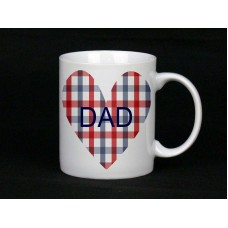 Dad Checked Heart Ceramic Mug