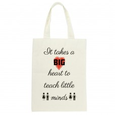 It Takes A Big Heart To Teach Little Minds (small heart), Tote Bag