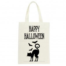 Happy Halloween Cat and Bat Tote