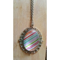 Candy Stripes Pendant With 24 Inch Chain