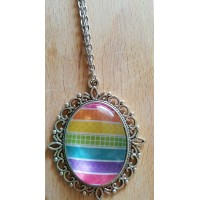 Rainbow Stripes Pendant With 24 Inch Chain