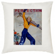 Parisienne Skiing Decorative Cushion