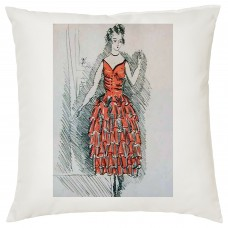 Elegant Dress Pencil Drawing Decorative Cushion